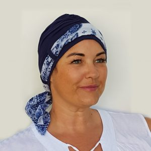 Navy with navy and white flower scarf - Carey Collection